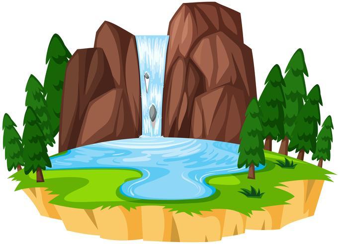 Un hermoso paisaje de cascada. vector