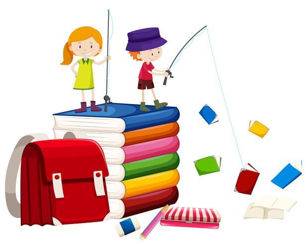 Crianças, pesca, livros