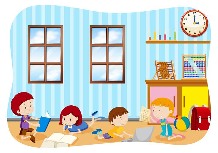 Children learning in a classroom  vector