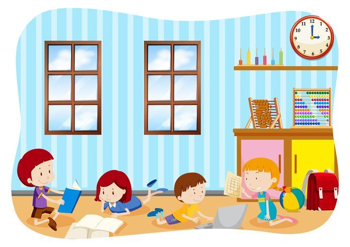Barn lär sig i ett klassrum