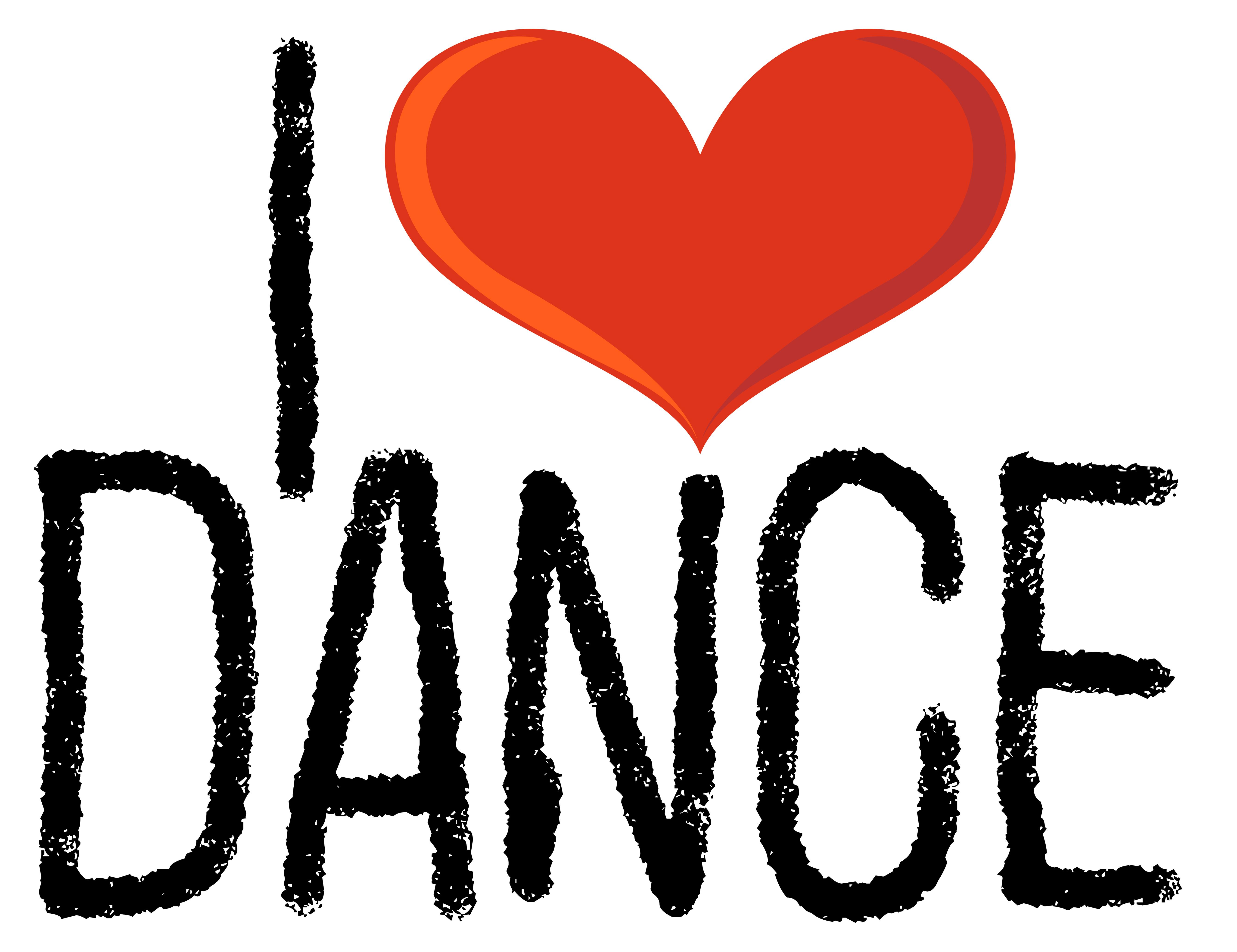 I Love Dance Icon On White Background