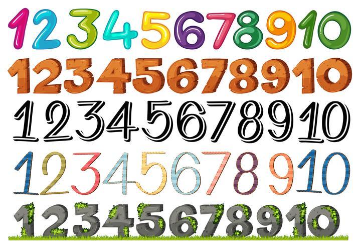 Un conjunto de números y fuentes.