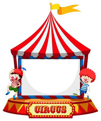 Circus tent with clowns frame  vector