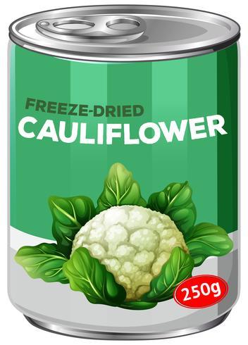 Una lata de coliflor liofilizada