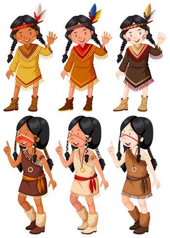 Native American Indian girls waving