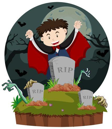 Cena do cemitério com vampiro