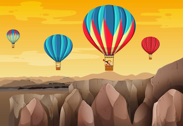 Children riding balloon scene
