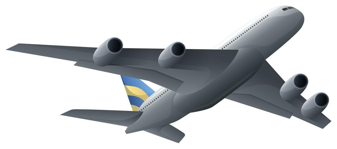 Volo dell'aeroplano su fondo bianco
