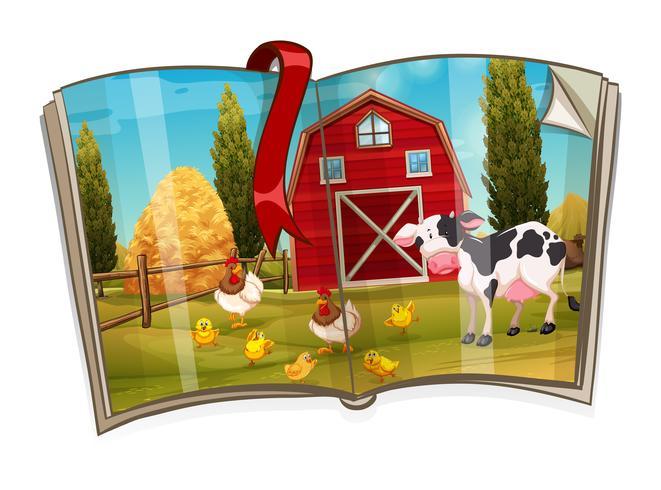 Prenota con gli animali nella scena della fattoria