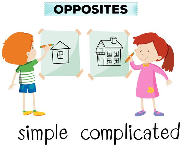 Opposite words for simple and complicated
