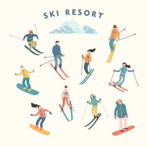 Ilustración vectorial de esquiadores y snowboarders.