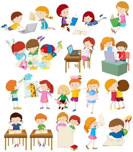 Children doing activities at school vector