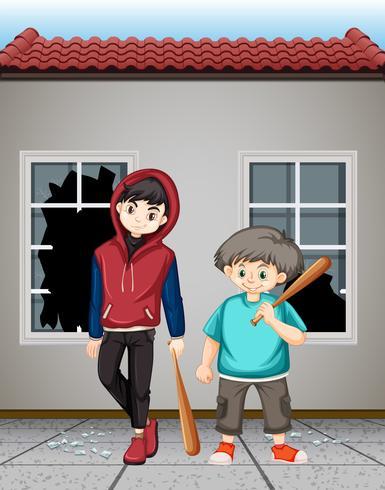 Bad teenagers smashing windows