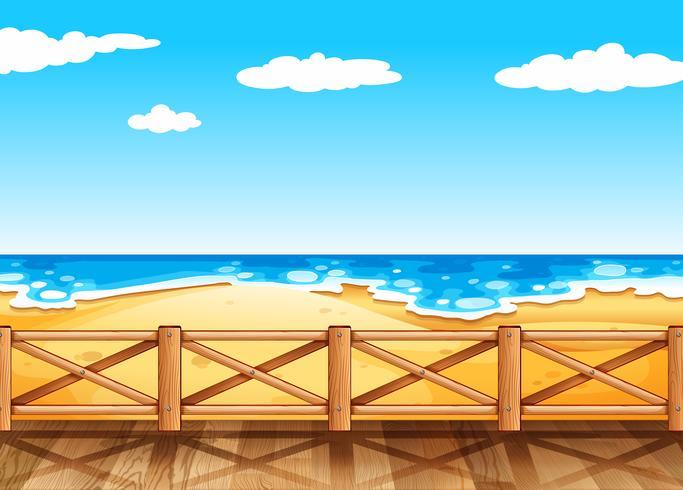 Escena de playa con puente de madera vector