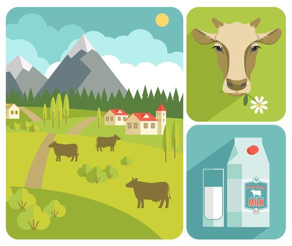 Ilustración de moderno diseño plano de vector de leche.