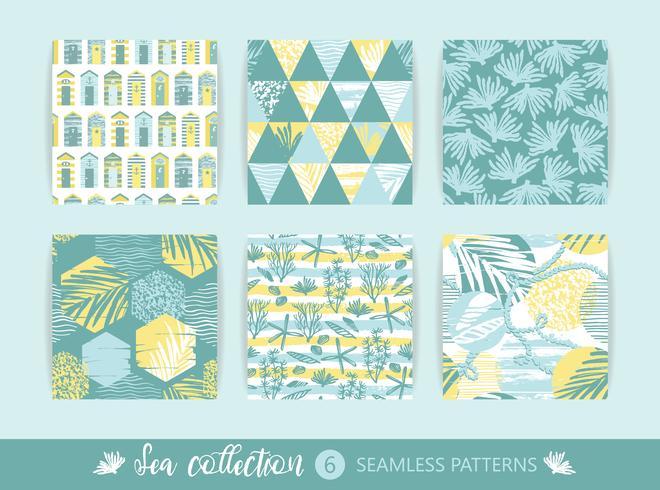 Conjunto de padrões sem emenda do mar na moda com textura de mão e elementos geométricos