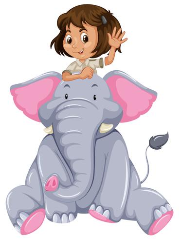 Ung tjej och elefant