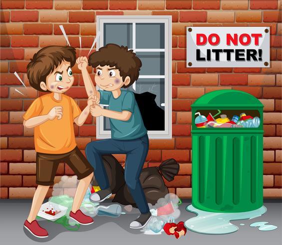 Adolescente de rua lutando próximo lixo