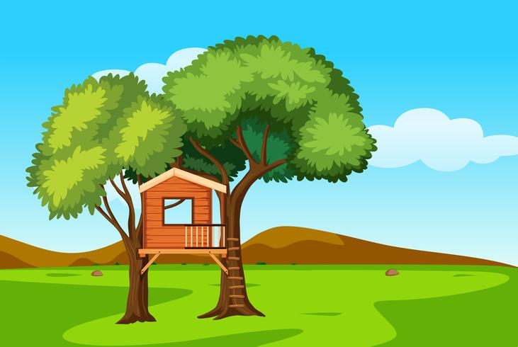 A tree house in nature landscape