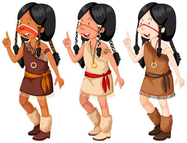 Ragazze indiane nativi americani in costume tradizionale vettore