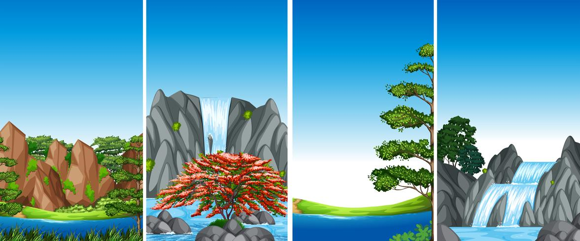 Four background scenes with waterfall and river - Download Free Vector Art, Stock Graphics & Images