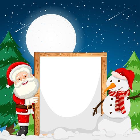 Cadre, père noël, bonhomme de neige