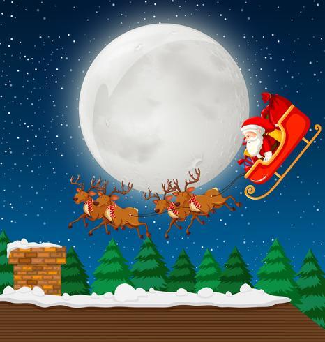 Santa con trineo y reno vector