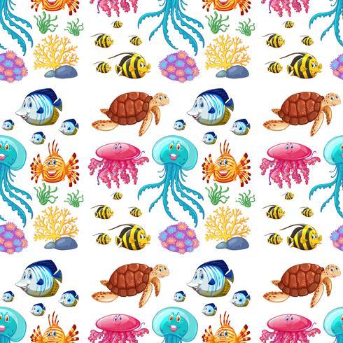 Divertido patrón sin fisuras de la vida marina.