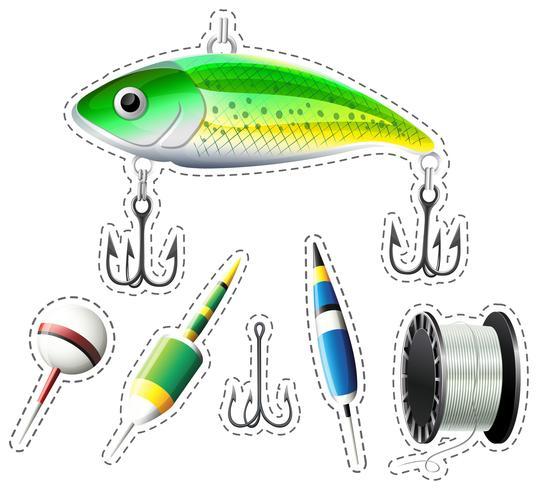 Equipo de pesca con anzuelos y flotadores.