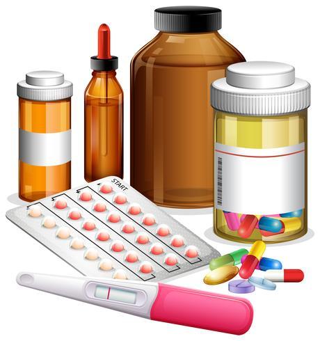 Varios medicamentos y medicamentos.