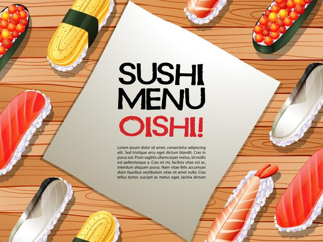 Sushi menu on wooden board