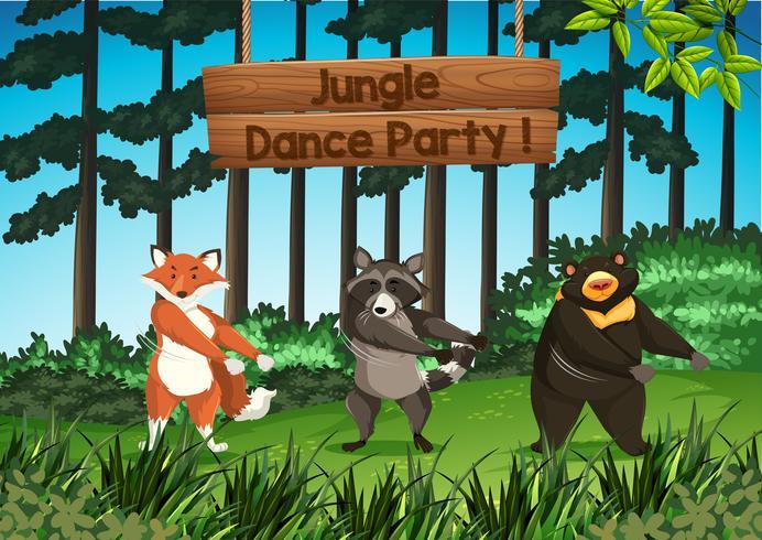 Fiesta de la danza de la selva de animales