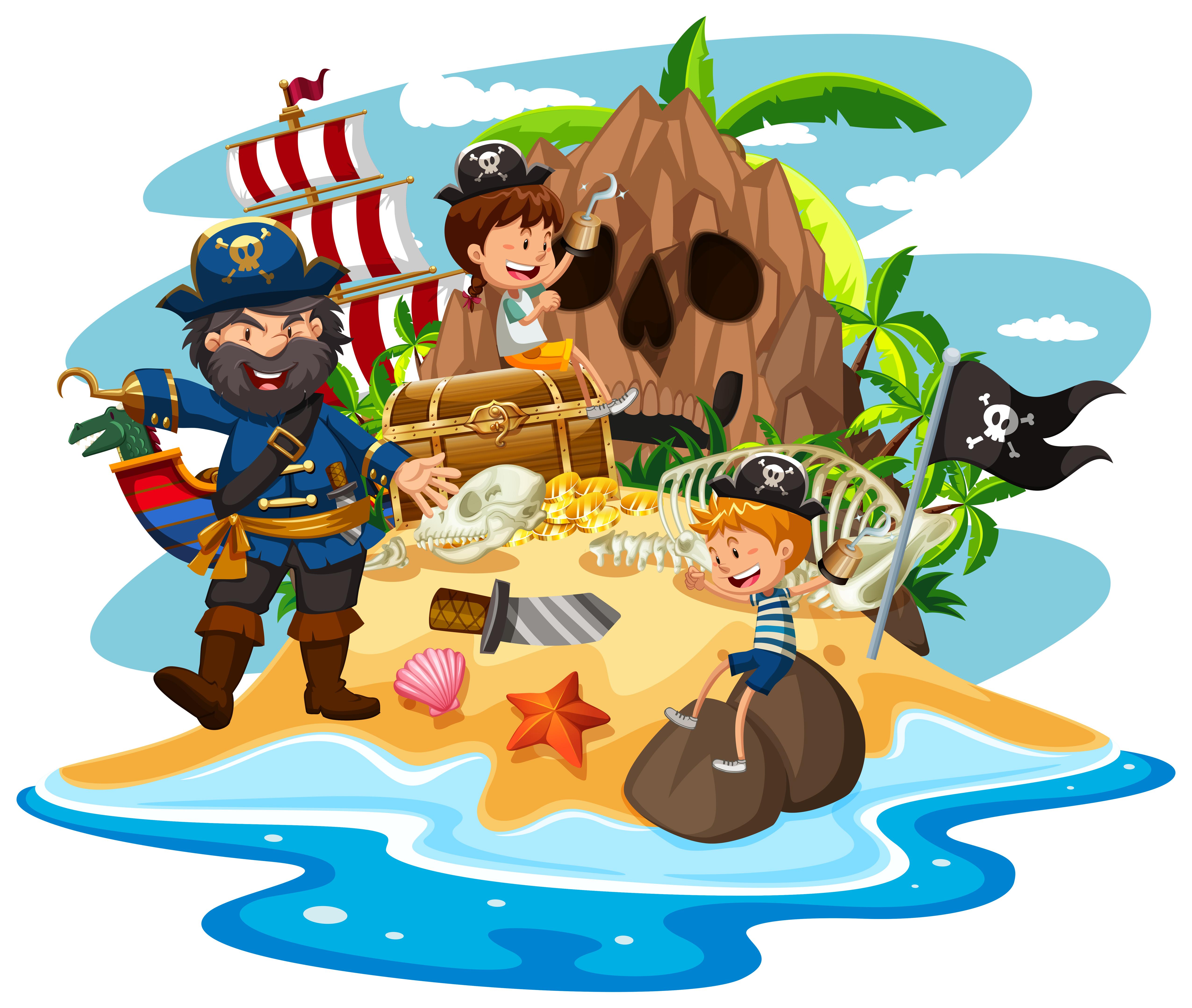 ocean scene with pirate and children on treasure island