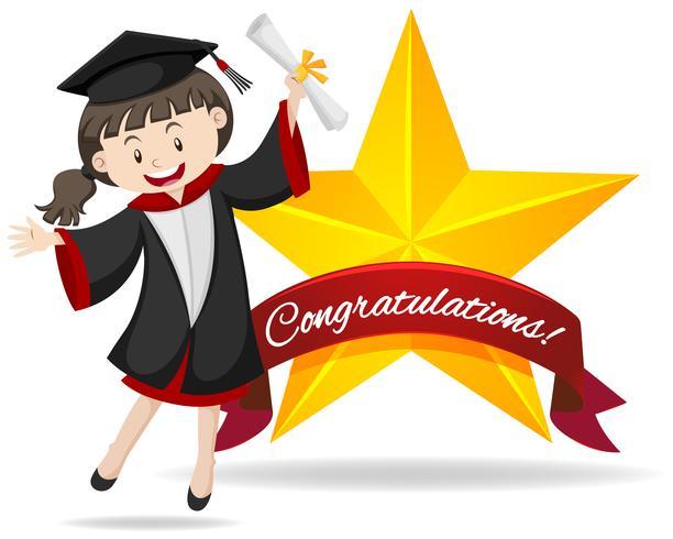 Segno di congratulazioni con laurea in possesso di ragazza