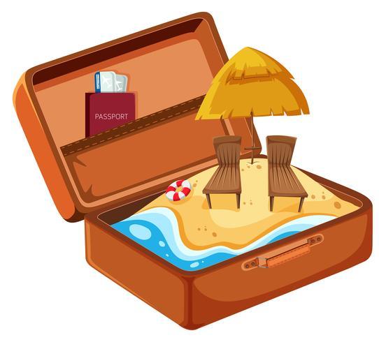 Férias na praia de verão na mala