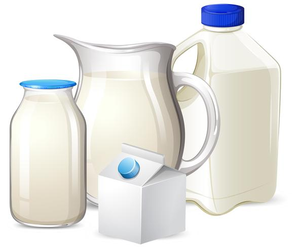 Set of milk on different container vector