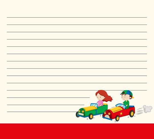 Plantilla de línea de papel con niños en coches de carreras.