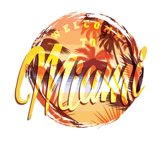 Estampado de verano playa tropical con eslogan para camiseta.