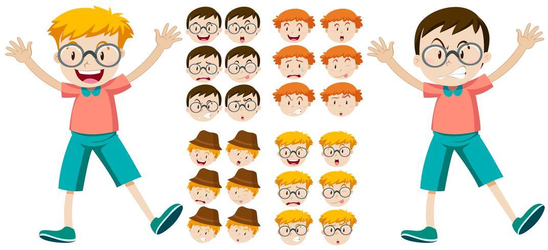 Niños pequeños con expresiones faciales.