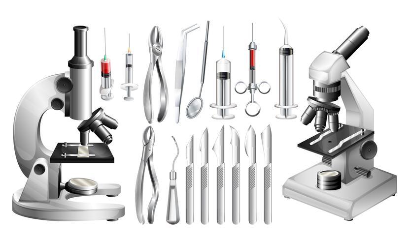 Attrezzature e strumenti medici diversi vettore