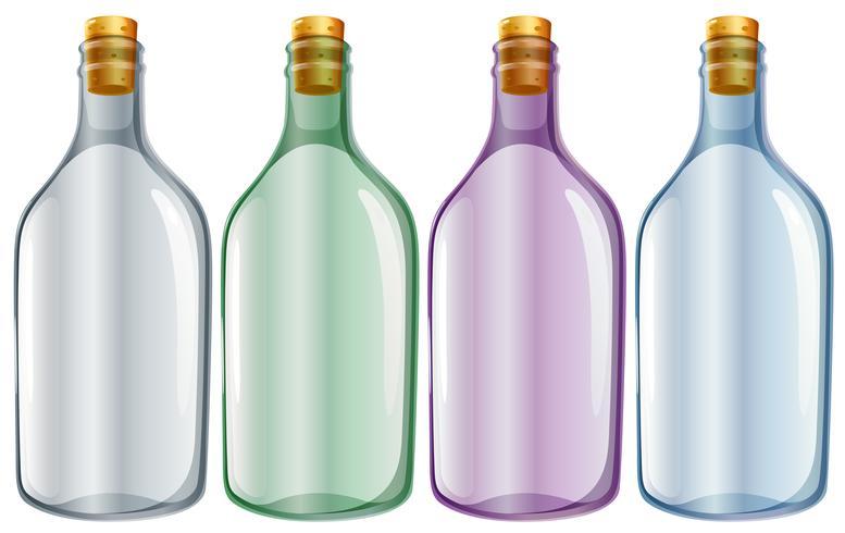 Quatro garrafas de vidro