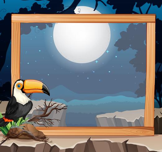 Toucan on wooden frame nature background