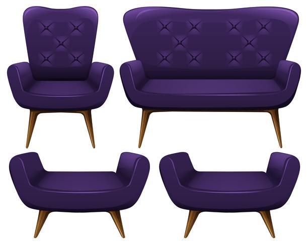 Sofa und Stühle in Lila