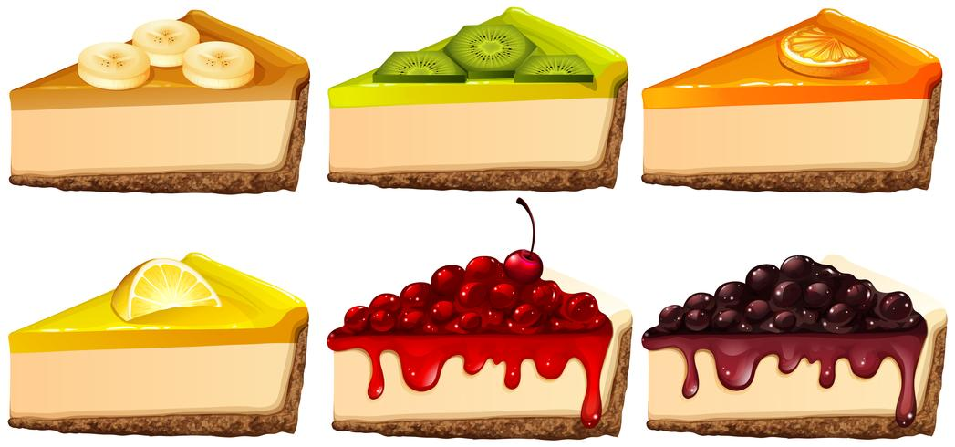 Set of cheesecake with different flavors