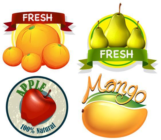 Etichetta design con parola e frutta fresca