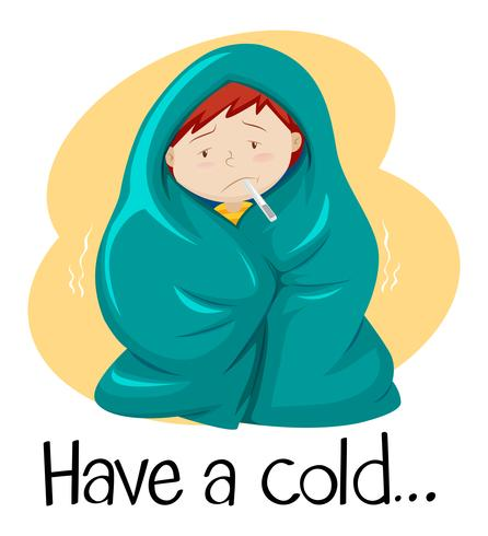 Word for have a cold with kid in blanket vector