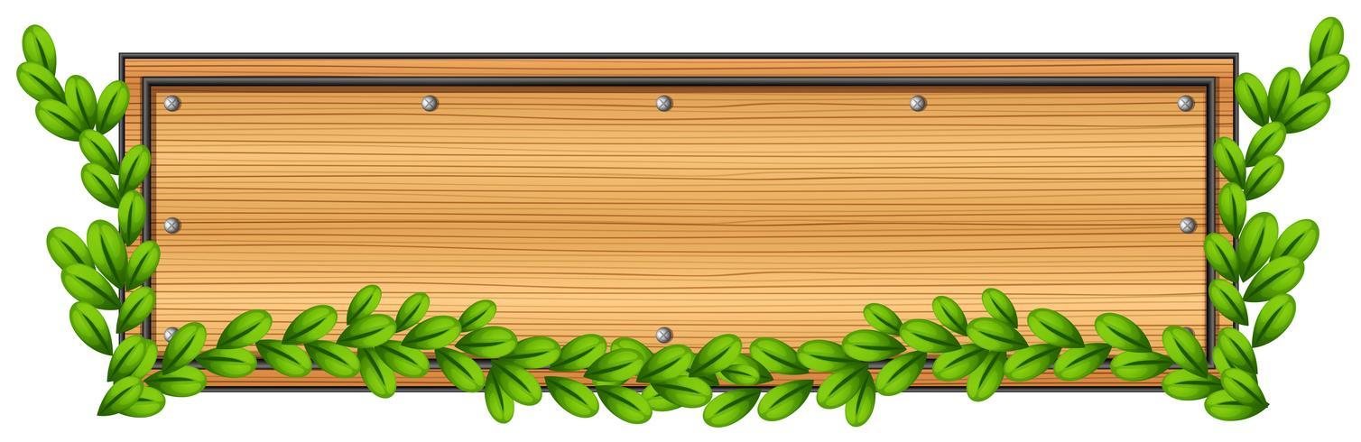Un panneau en bois vide avec une plante
