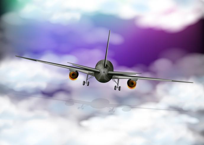 Back of airplane flying in purple sky