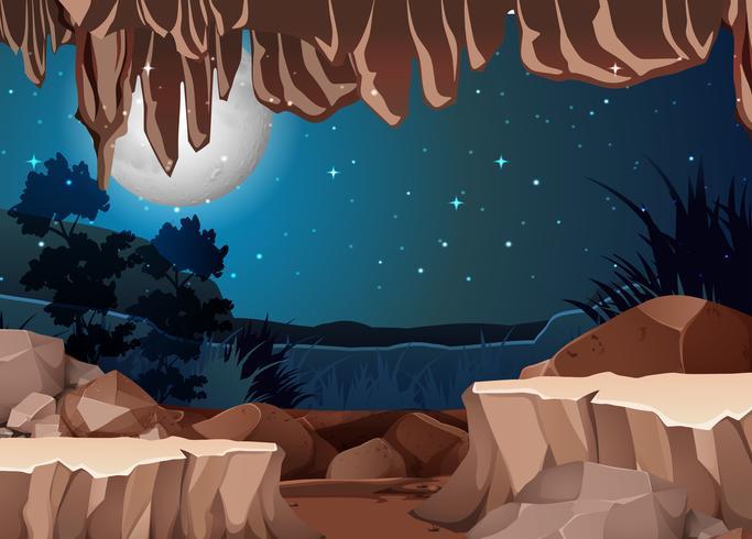 Eine Landschaftsansicht vom Höhleneingang