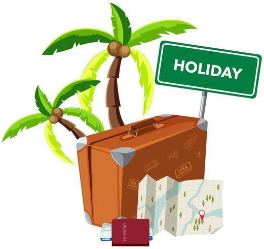 Objeto de férias no fundo branco